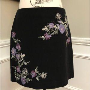 Loft Size 10 Black Embroidery Skirt